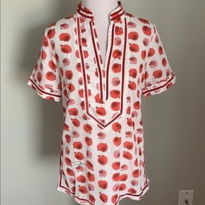 Tory Burch Blouse shirt silk blend hedgehog Small